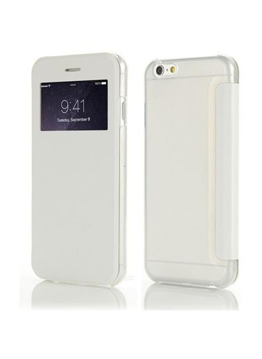 Microsonic View Cover Delux Kapaklı iPhone  6 (4.7'') Kılıf Beyaz Renkli